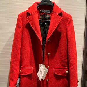 Zara premium quality coat red with gold finish